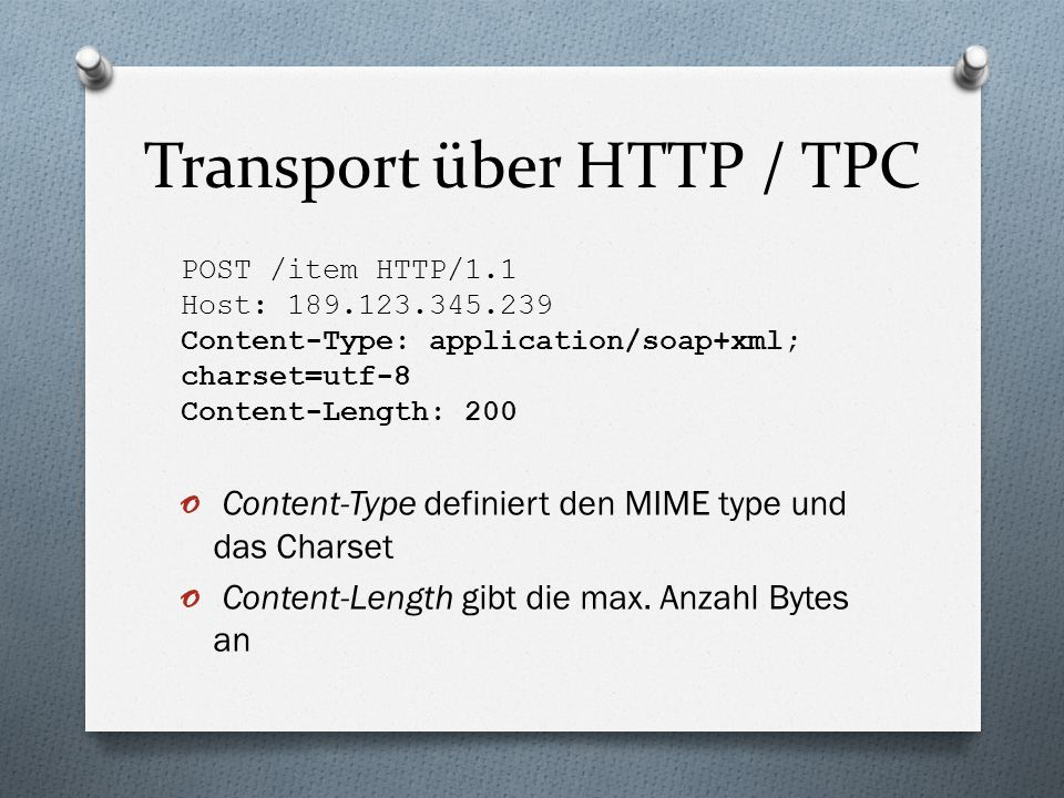 Transport über HTTP / TPC