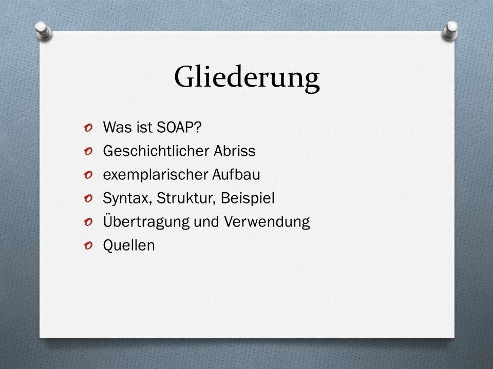Gliederung Was ist SOAP Geschichtlicher Abriss exemplarischer Aufbau