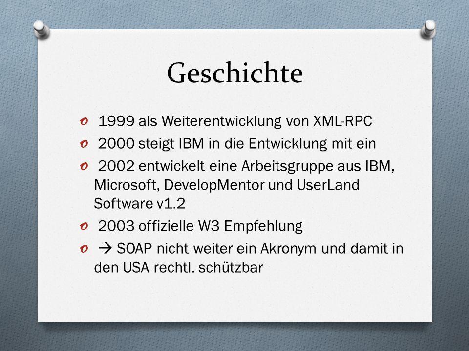 Geschichte 1999 als Weiterentwicklung von XML-RPC