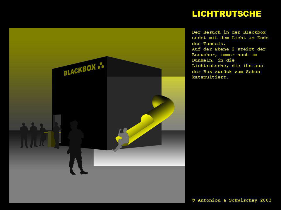 LICHTRUTSCHE licht. Der Besuch in der Blackbox endet mit dem Licht am Ende des Tunnels.