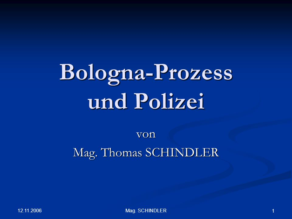 Bologna-Prozess und Polizei