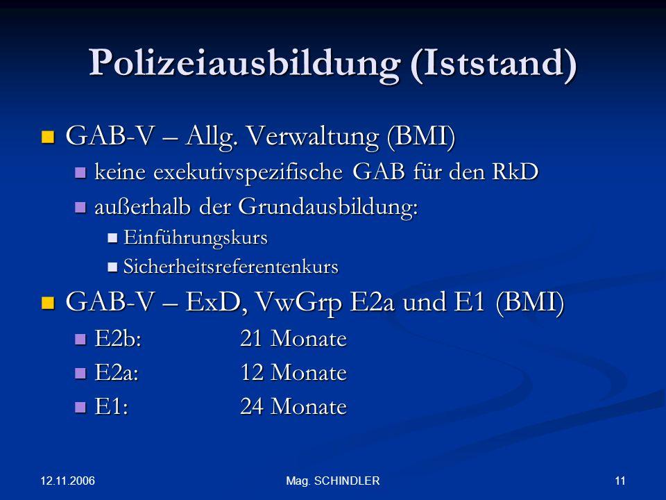 Polizeiausbildung (Iststand)