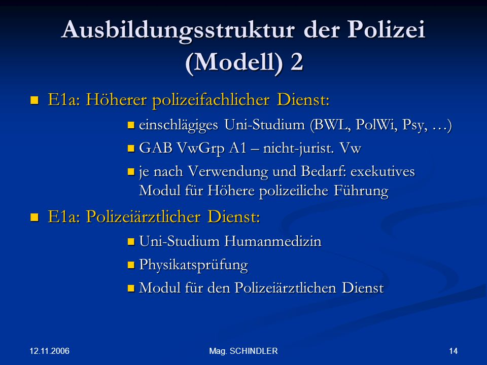 Ausbildungsstruktur der Polizei (Modell) 2