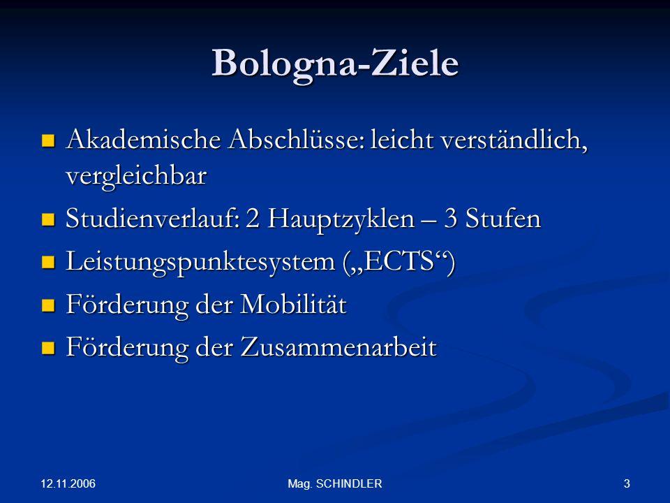 Bologna-Ziele Akademische Abschlüsse: leicht verständlich, vergleichbar. Studienverlauf: 2 Hauptzyklen – 3 Stufen.