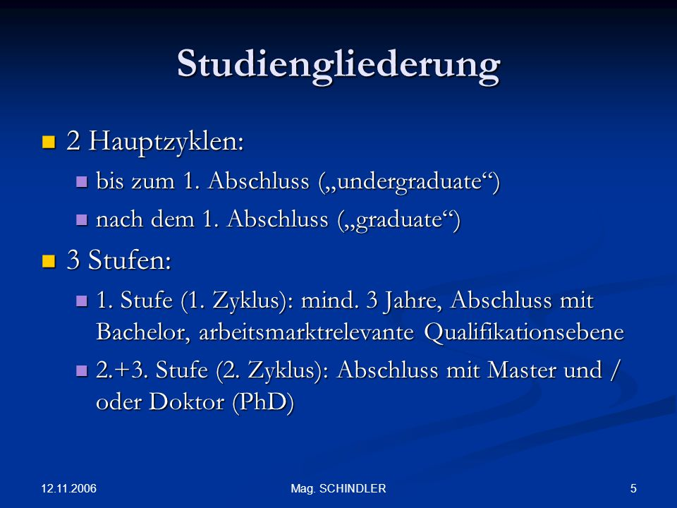 Studiengliederung 2 Hauptzyklen: 3 Stufen: