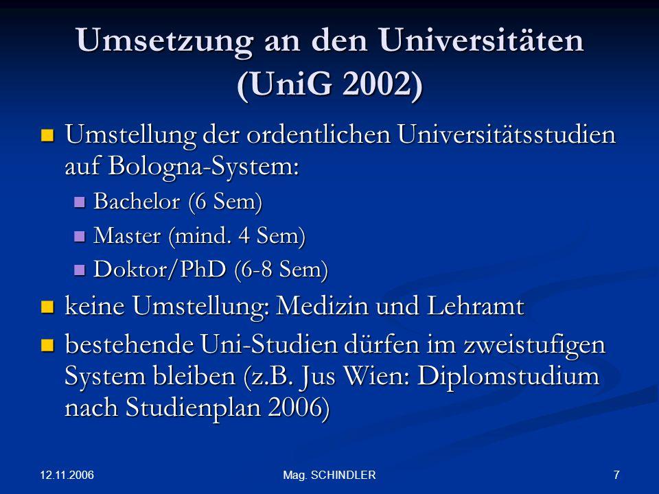 Umsetzung an den Universitäten (UniG 2002)