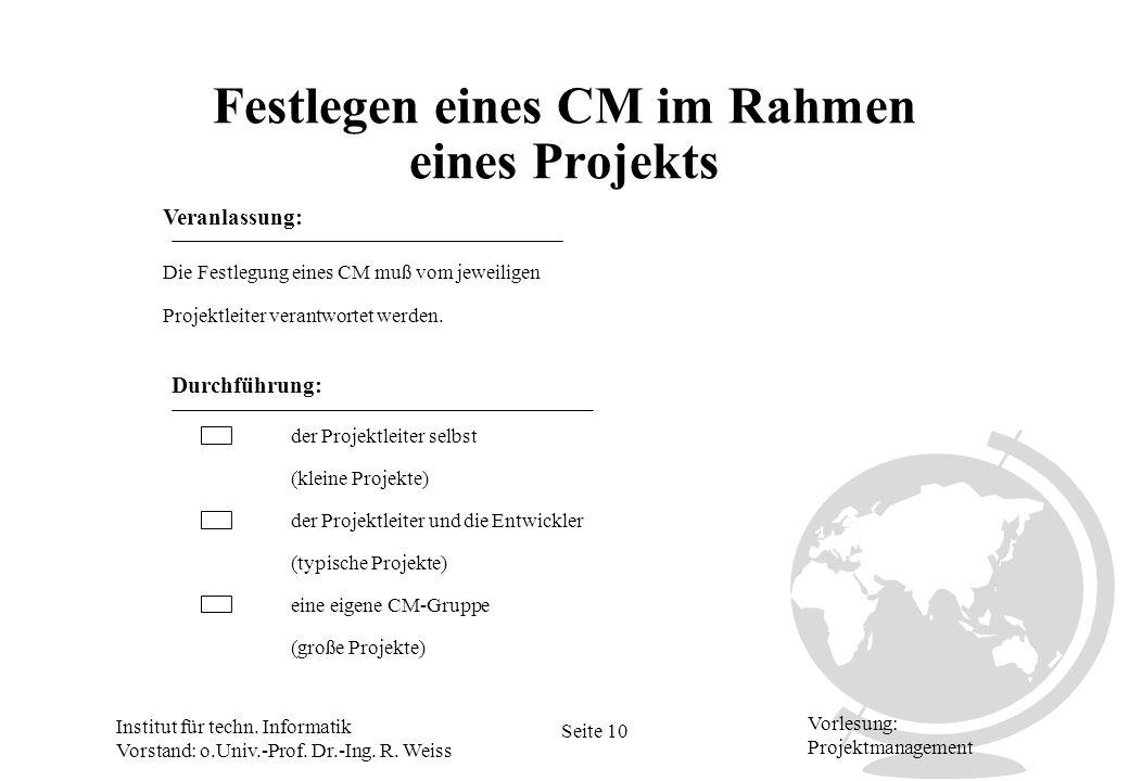 Festlegen eines CM im Rahmen eines Projekts