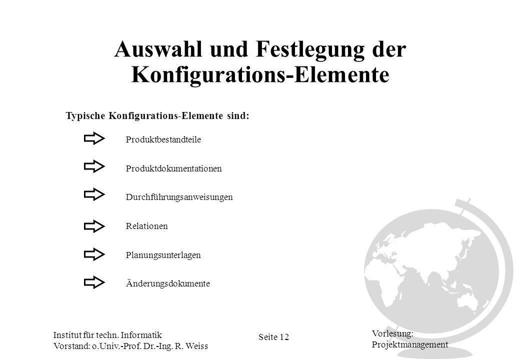Auswahl und Festlegung der Konfigurations-Elemente