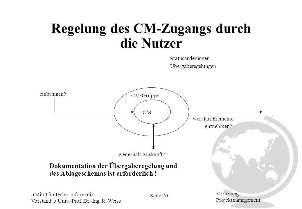 Regelung des CM-Zugangs durch die Nutzer