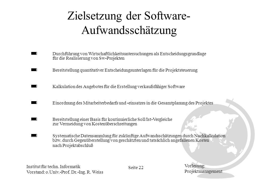 Zielsetzung der Software-Aufwandsschätzung