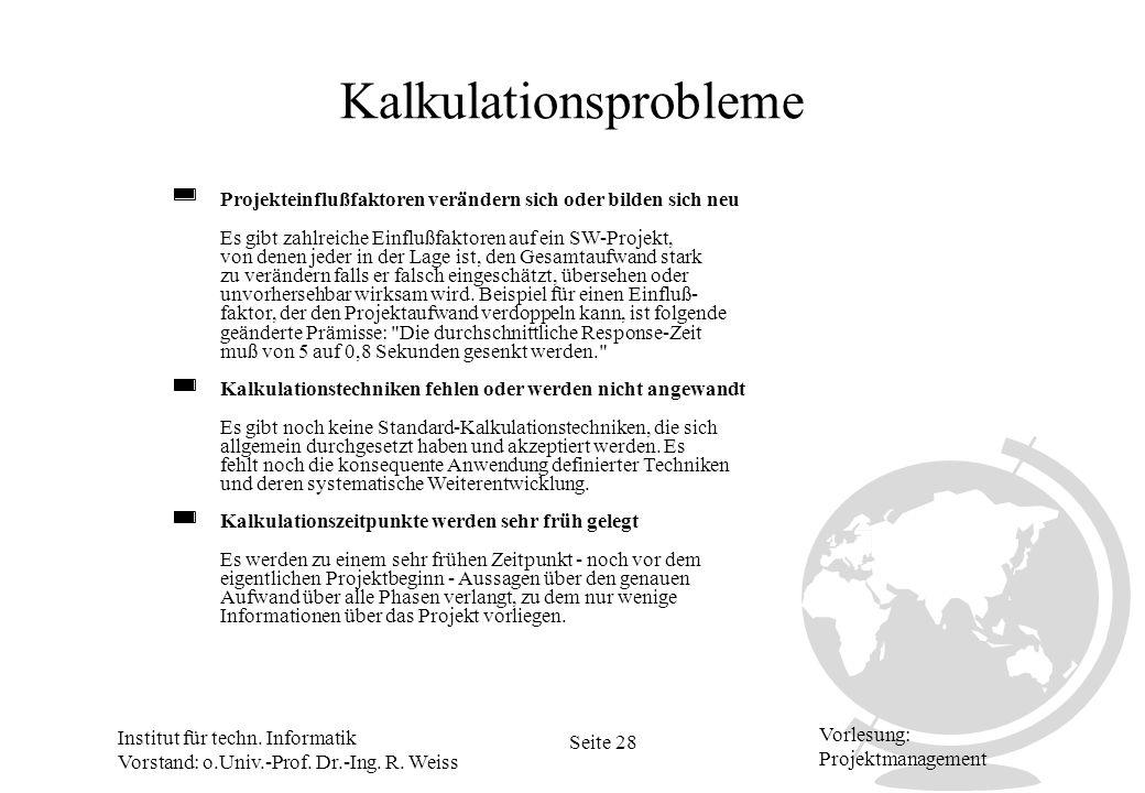 Kalkulationsprobleme