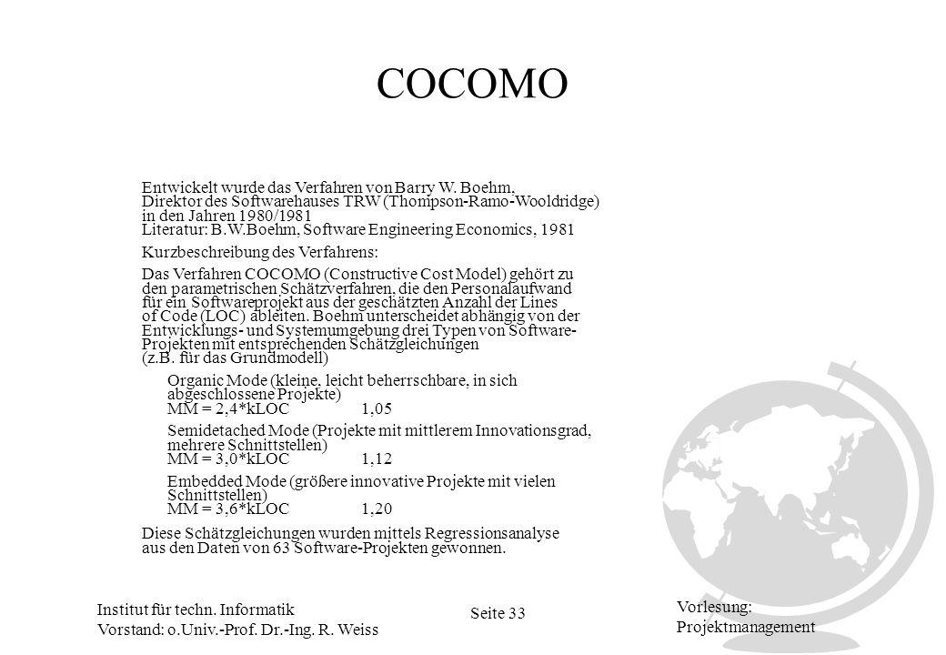 COCOMO Entwickelt wurde das Verfahren von Barry W. Boehm,