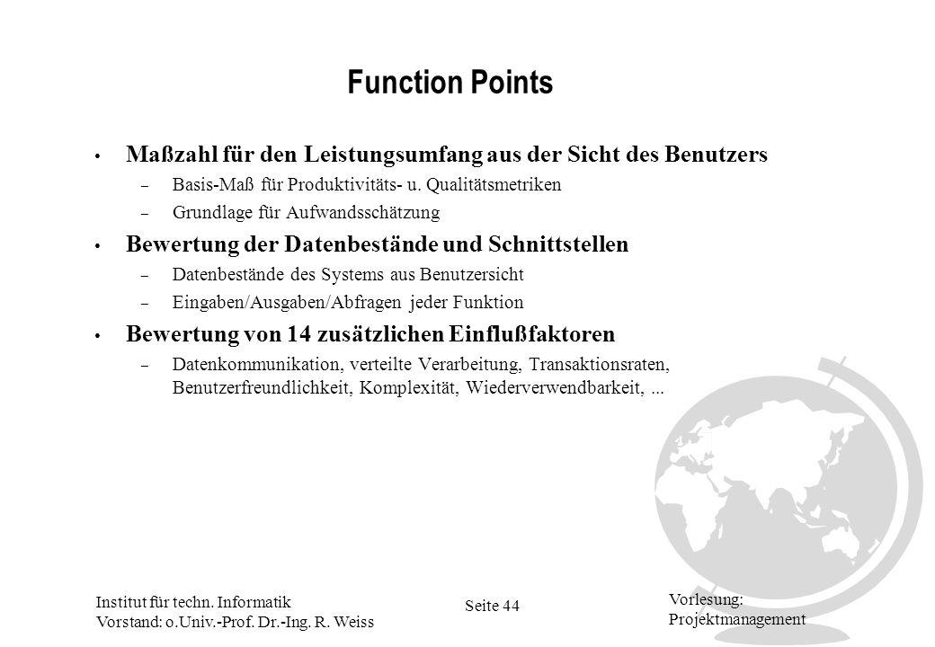 Function Points Maßzahl für den Leistungsumfang aus der Sicht des Benutzers. Basis-Maß für Produktivitäts- u. Qualitätsmetriken.