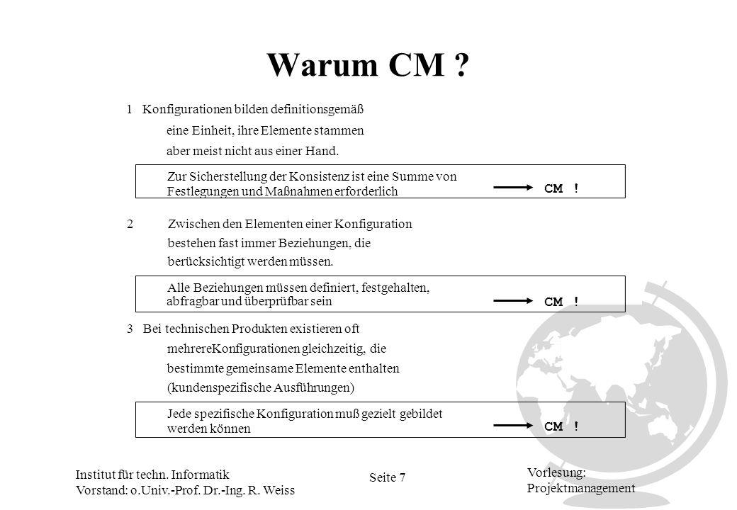 Warum CM CM ! CM ! CM ! 1 Konfigurationen bilden definitionsgemäß