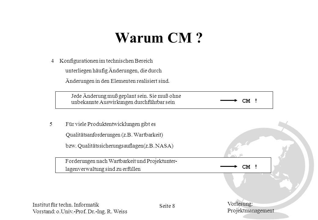 Warum CM CM ! CM ! 4 Konfigurationen im technischen Bereich