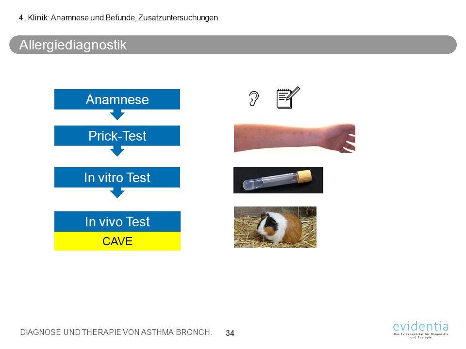 Allergiediagnostik Anamnese Prick-Test In vitro Test In vivo Test CAVE