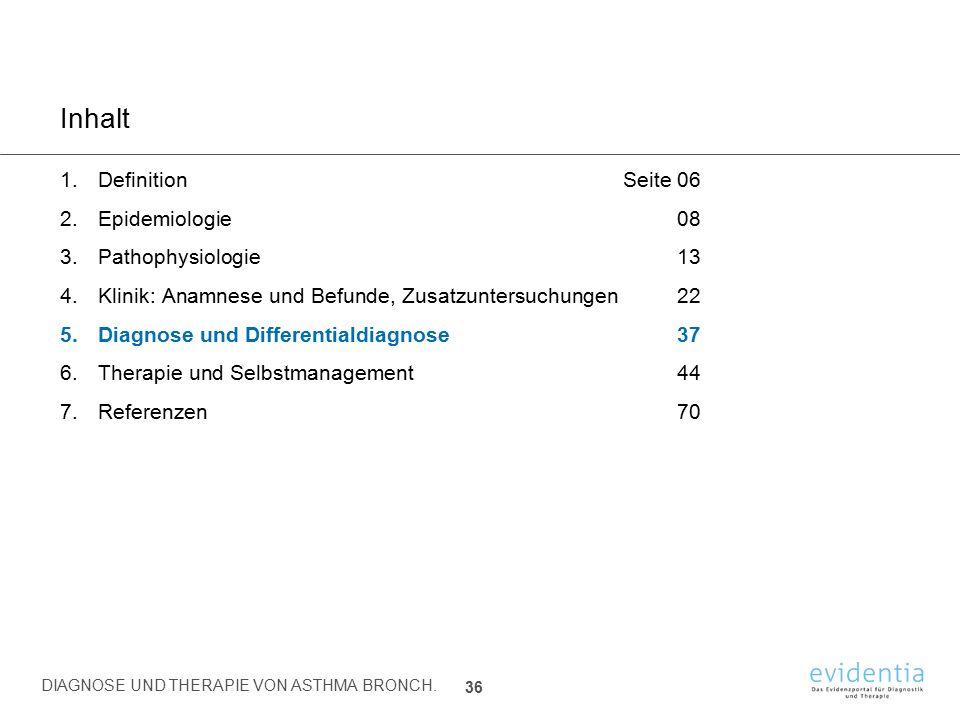 Inhalt Definition Seite 06 Epidemiologie 08 Pathophysiologie 13
