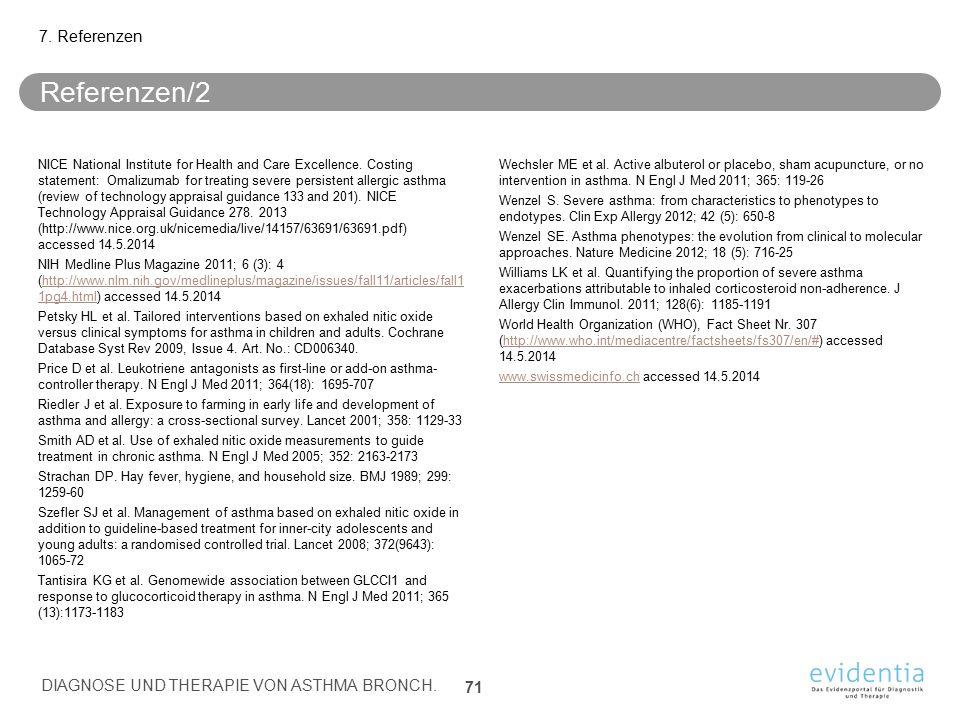 Referenzen/2 7. Referenzen DIAGNOSE UND THERAPIE VON ASTHMA BRONCH.