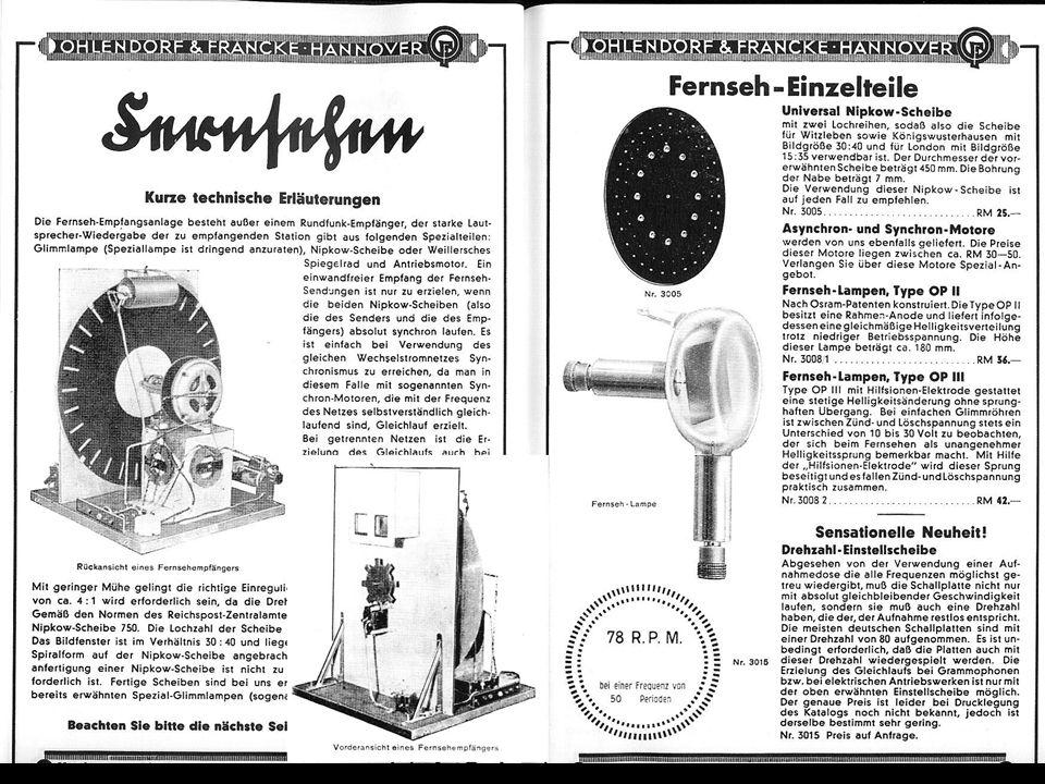 Mechanischer Fernseher als Bausatz für Bastler (eine ernst zu nehmende Fernsehübertragung war damit nicht möglich), ca.