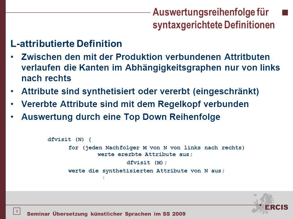 Anwendung der syntaxgerichtete Übersetzung