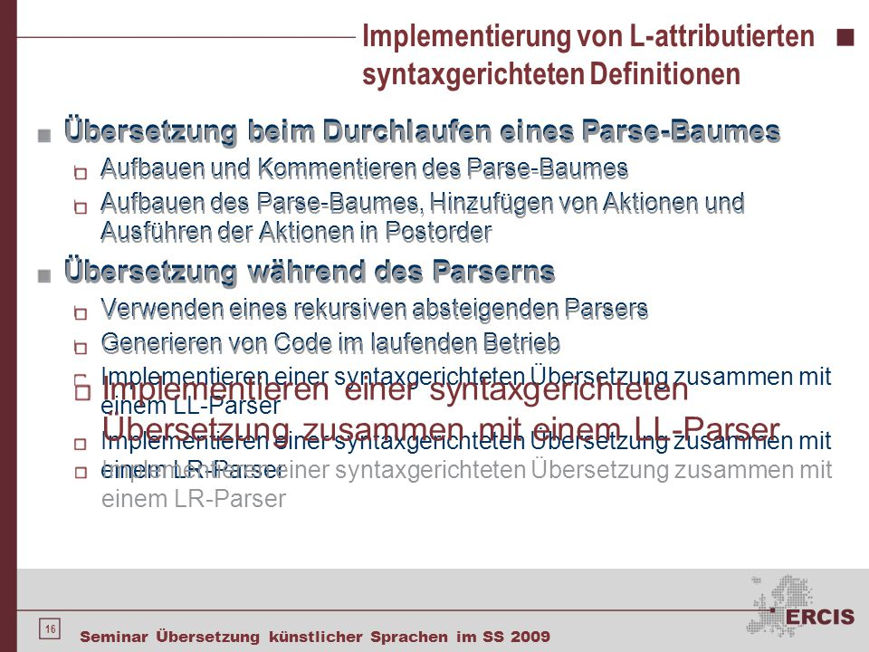 Implementierung von L-attributierten syntaxgerichteten Definitionen