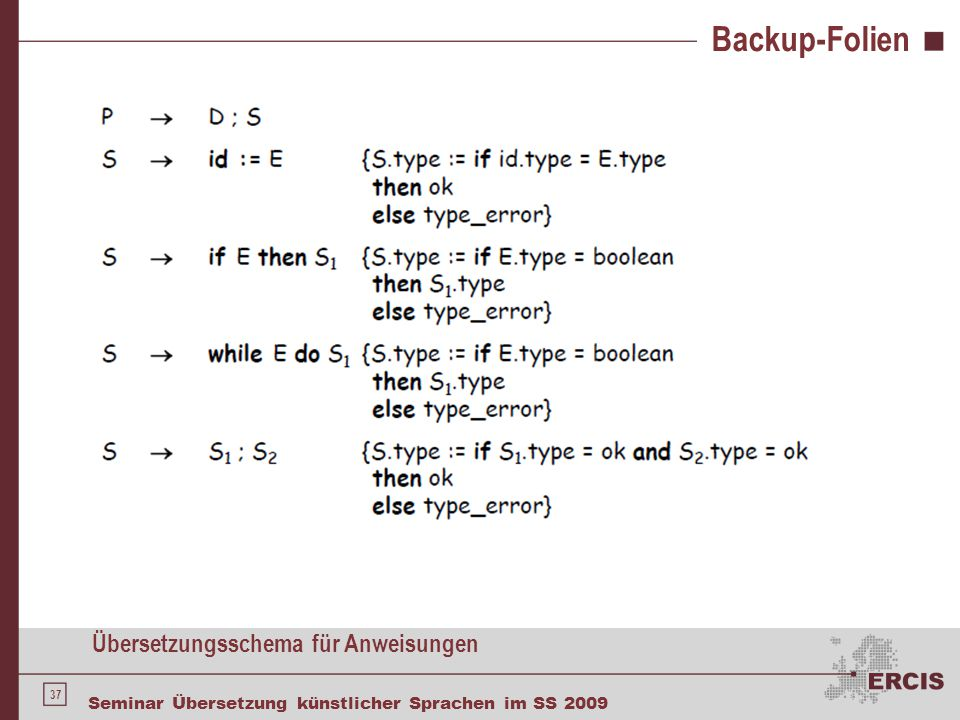 Backup-Folien Äquivalenz von Typen
