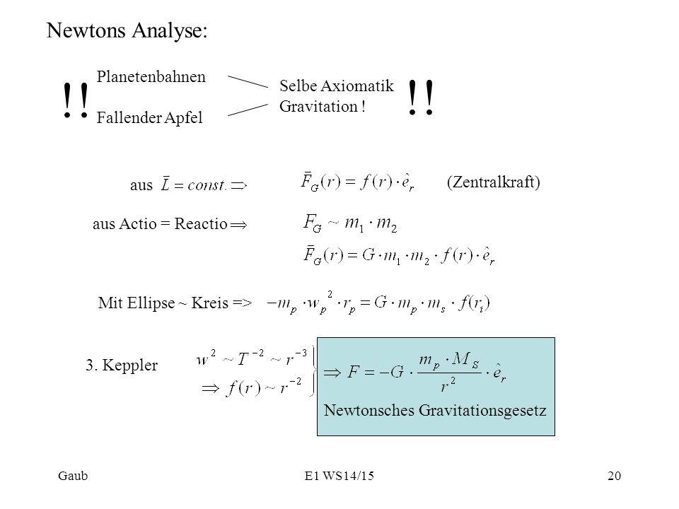 !! Newtons Analyse: Planetenbahnen Selbe Axiomatik Fallender Apfel