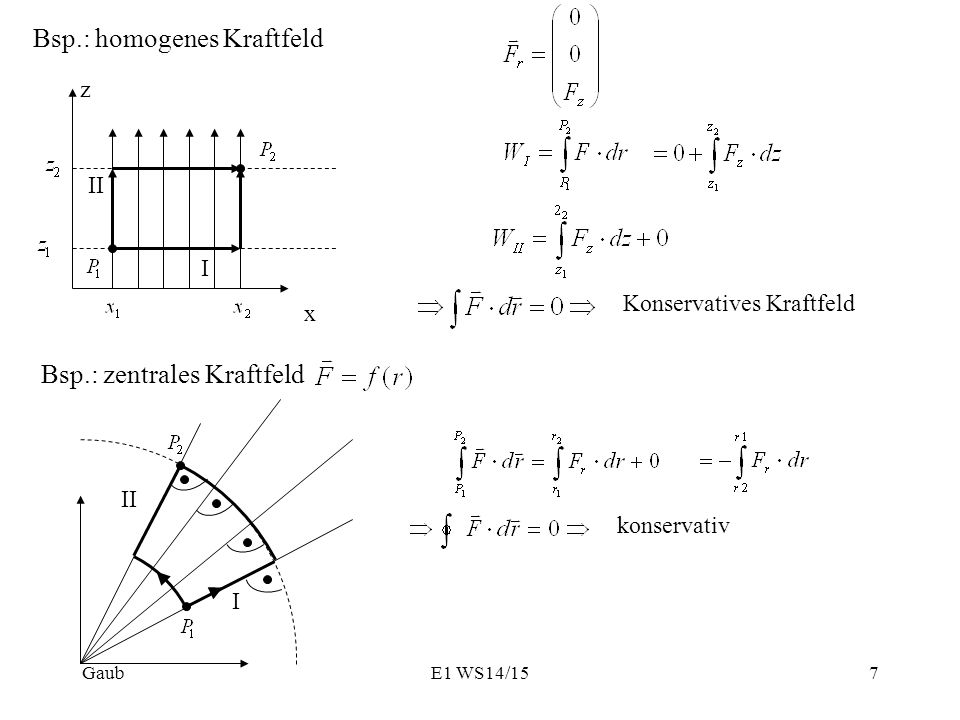 Bsp.: homogenes Kraftfeld