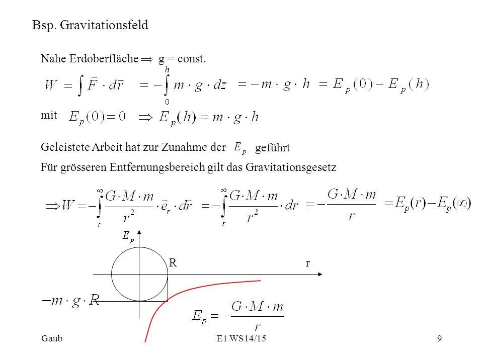 Bsp. Gravitationsfeld Nahe Erdoberfläche  g = const. mit
