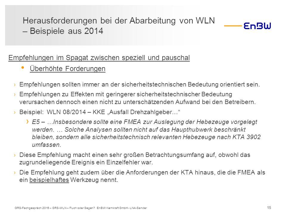 Herausforderungen bei der Abarbeitung von WLN – Beispiele aus 2014