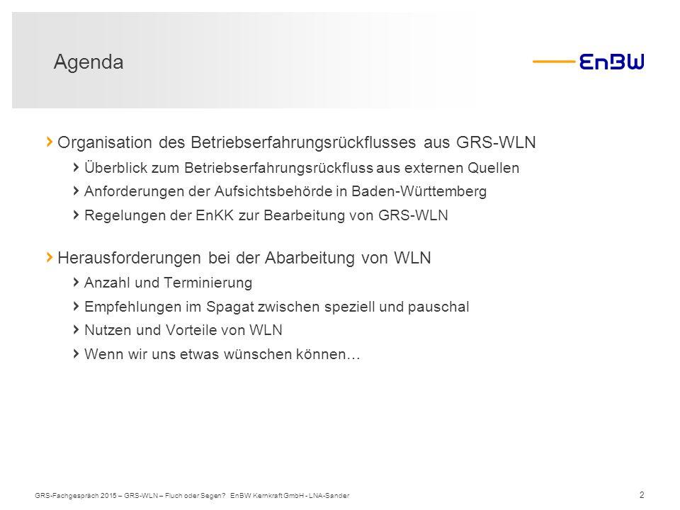 Agenda Organisation des Betriebserfahrungsrückflusses aus GRS-WLN