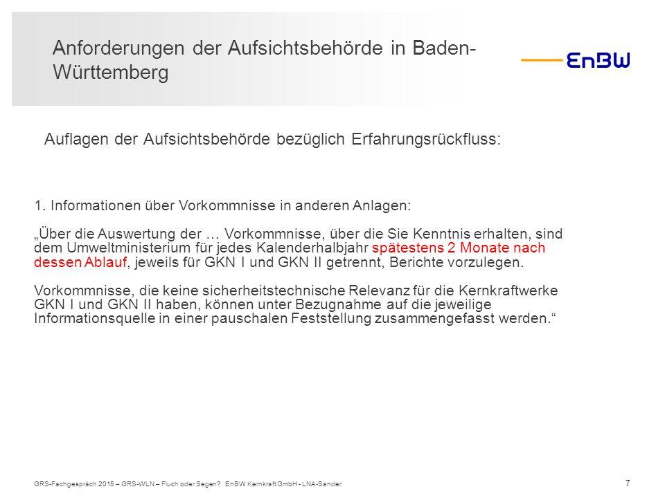 Anforderungen der Aufsichtsbehörde in Baden-Württemberg