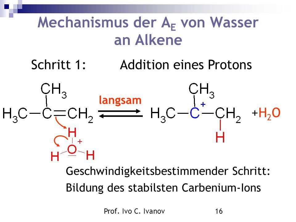 Mechanismus der AE von Wasser an Alkene