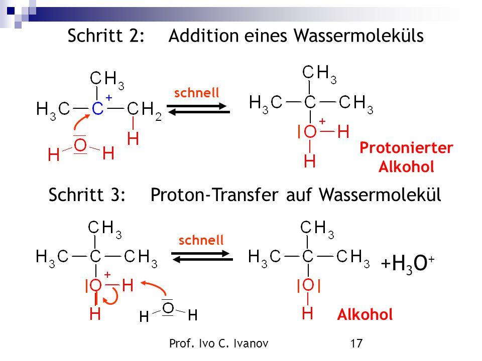 +H3O+ Schritt 2: Addition eines Wassermoleküls