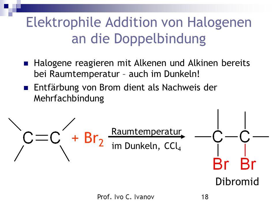 Elektrophile Addition von Halogenen an die Doppelbindung