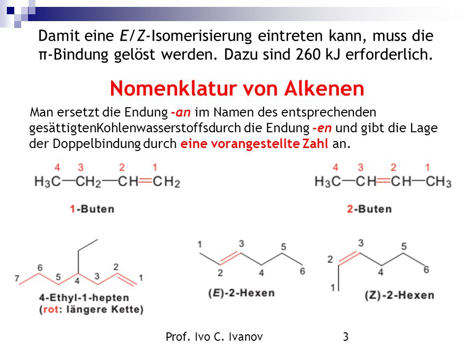 Nomenklatur von Alkenen