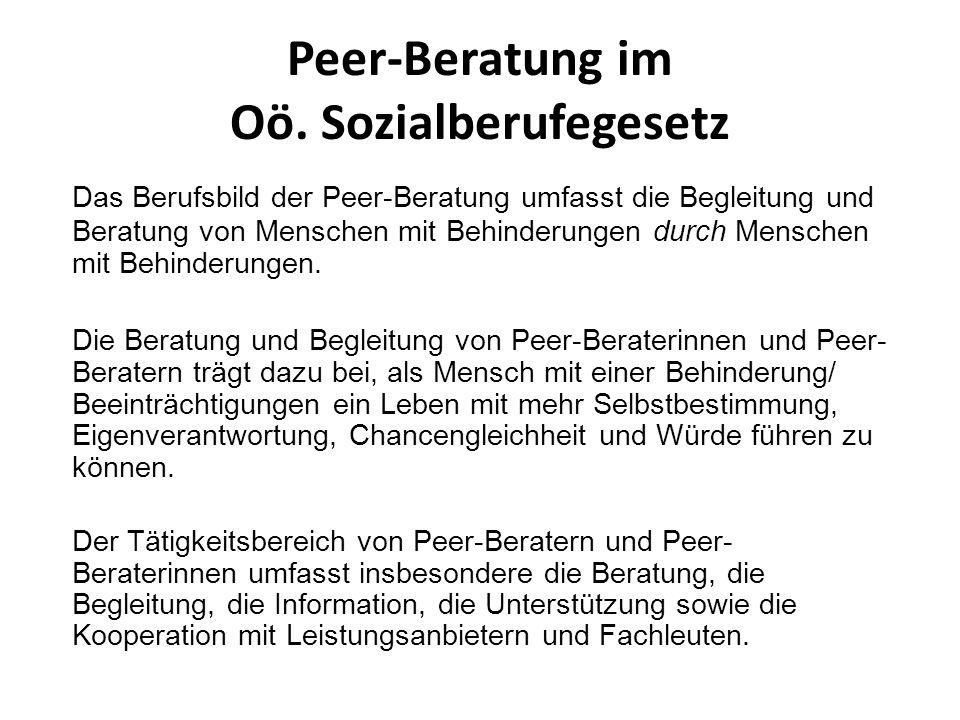 Peer-Beratung im Oö. Sozialberufegesetz