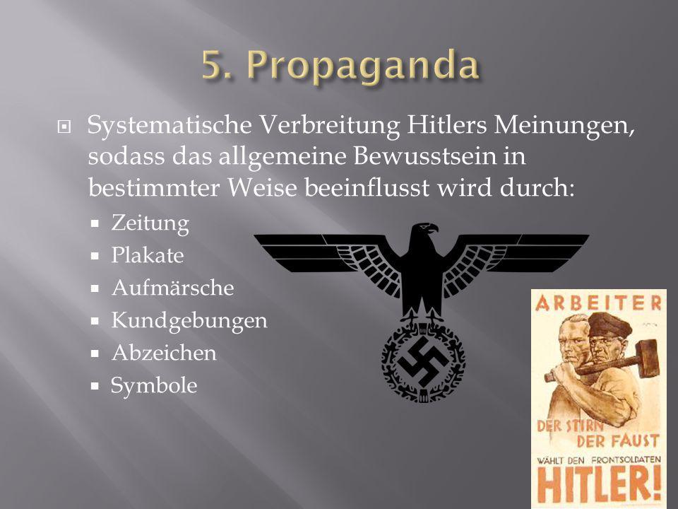 5. Propaganda Systematische Verbreitung Hitlers Meinungen, sodass das allgemeine Bewusstsein in bestimmter Weise beeinflusst wird durch: