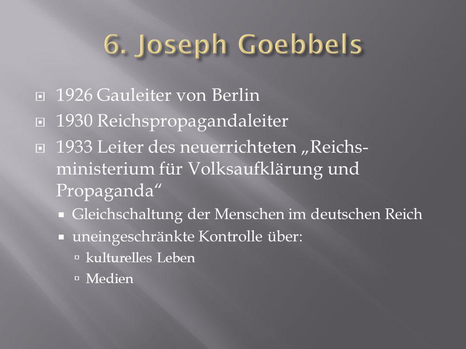 6. Joseph Goebbels 1926 Gauleiter von Berlin