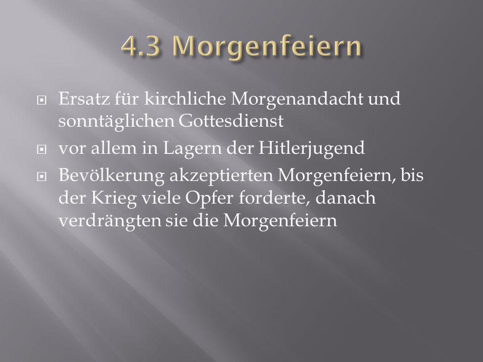 4.3 Morgenfeiern Ersatz für kirchliche Morgenandacht und sonntäglichen Gottesdienst. vor allem in Lagern der Hitlerjugend.