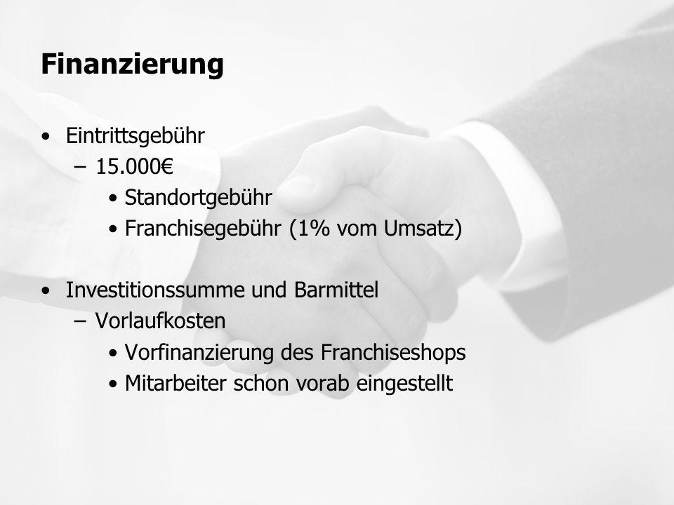 Finanzierung Eintrittsgebühr 15.000€ Standortgebühr