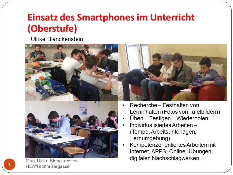 Einsatz des Smartphones im Unterricht (Oberstufe)