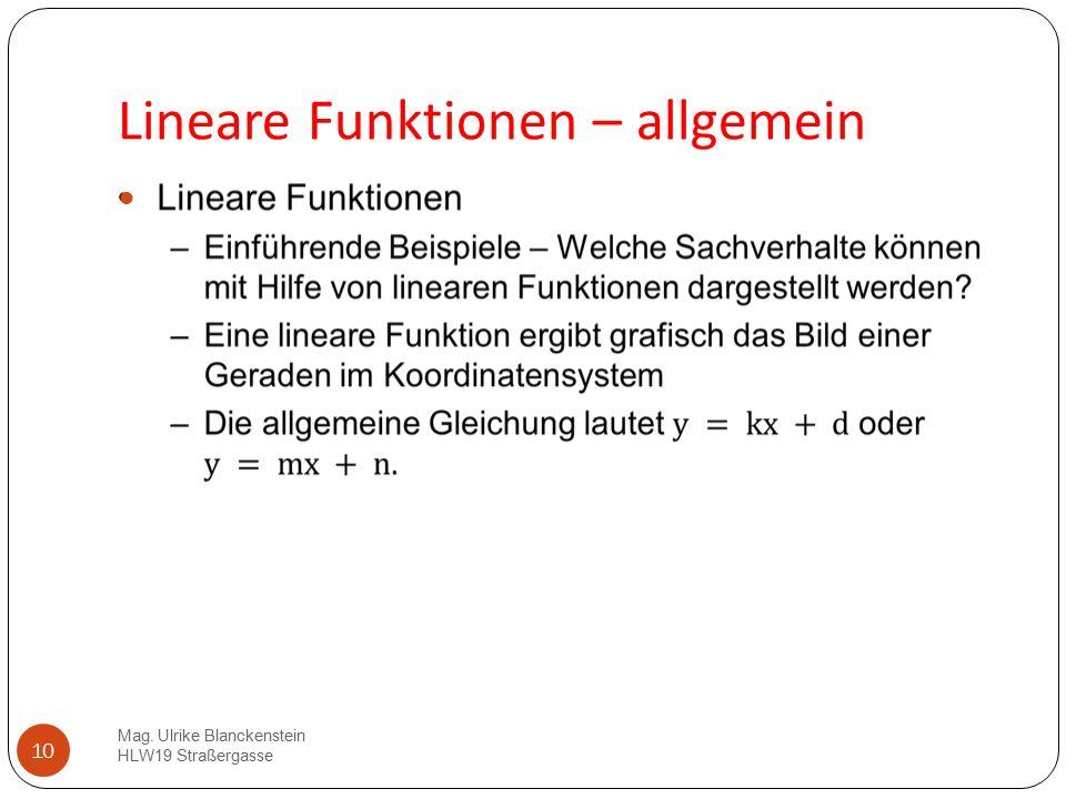 Lineare Funktionen – allgemein