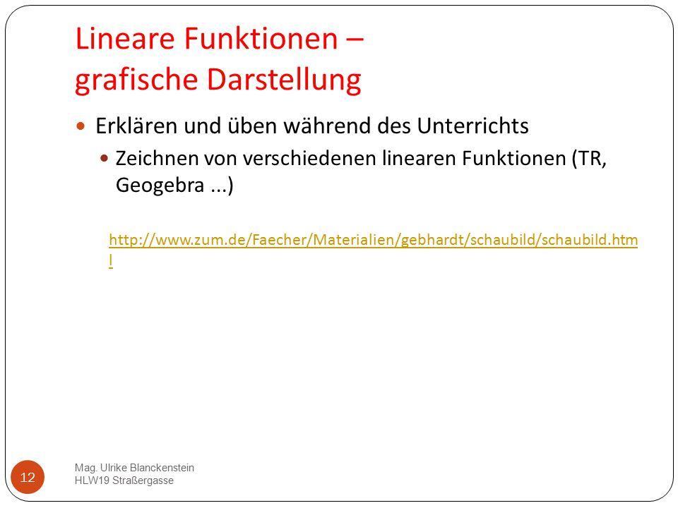 Lineare Funktionen – grafische Darstellung