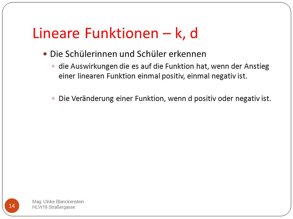 Lineare Funktionen – k, d