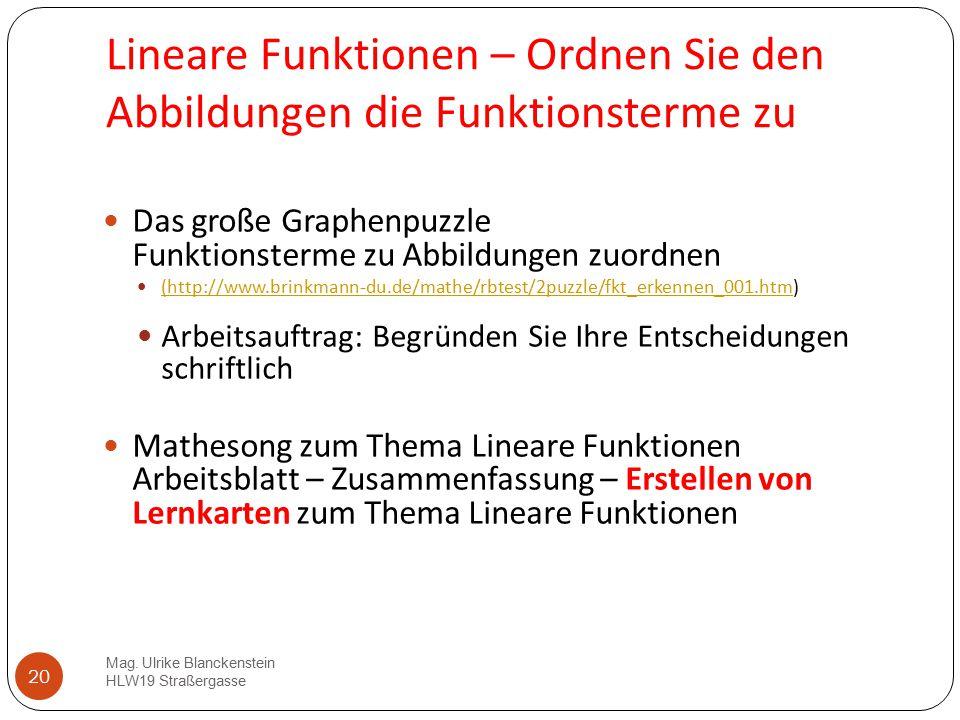 Lineare Funktionen – Ordnen Sie den Abbildungen die Funktionsterme zu