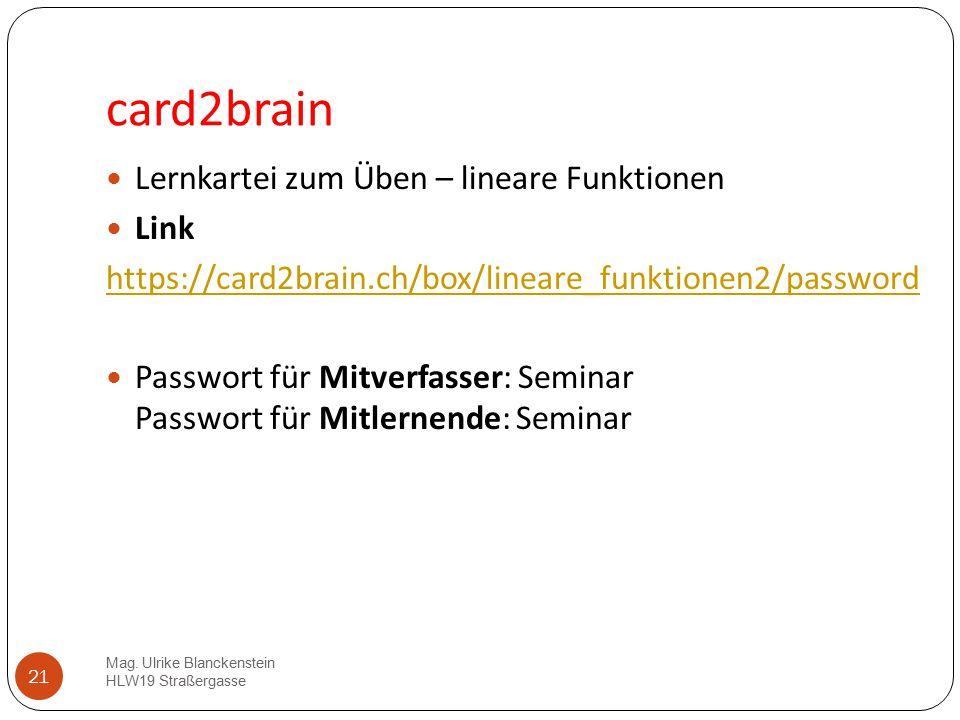 card2brain Lernkartei zum Üben – lineare Funktionen Link