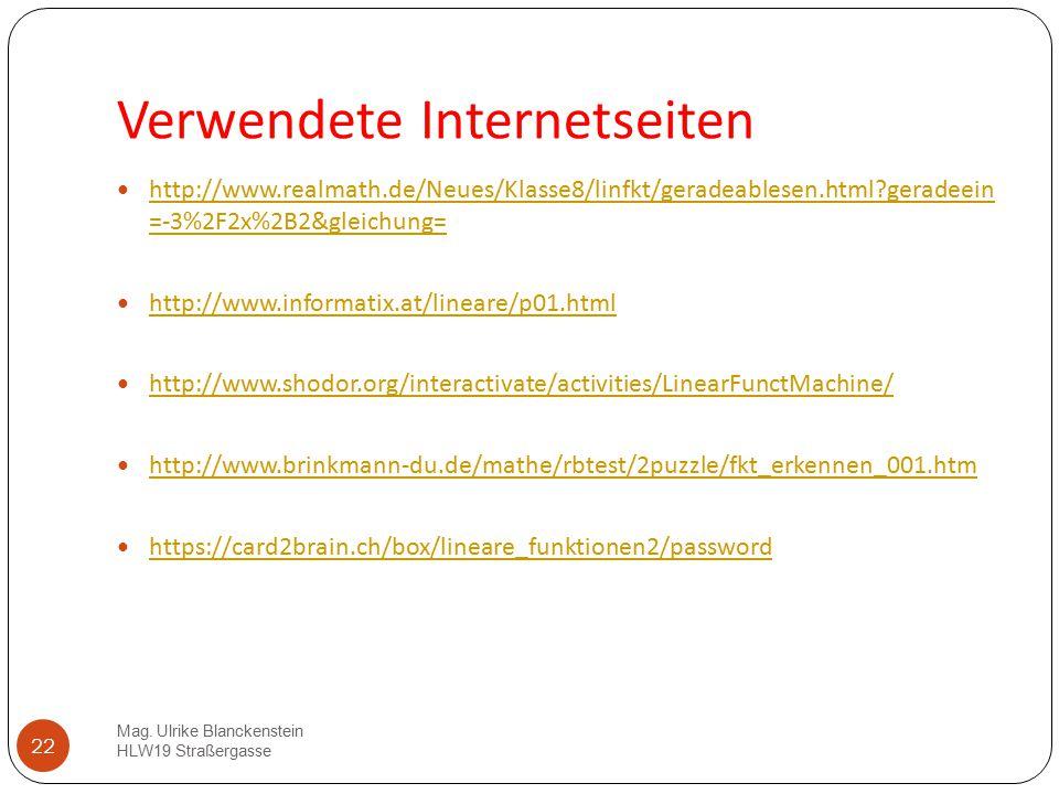 Verwendete Internetseiten