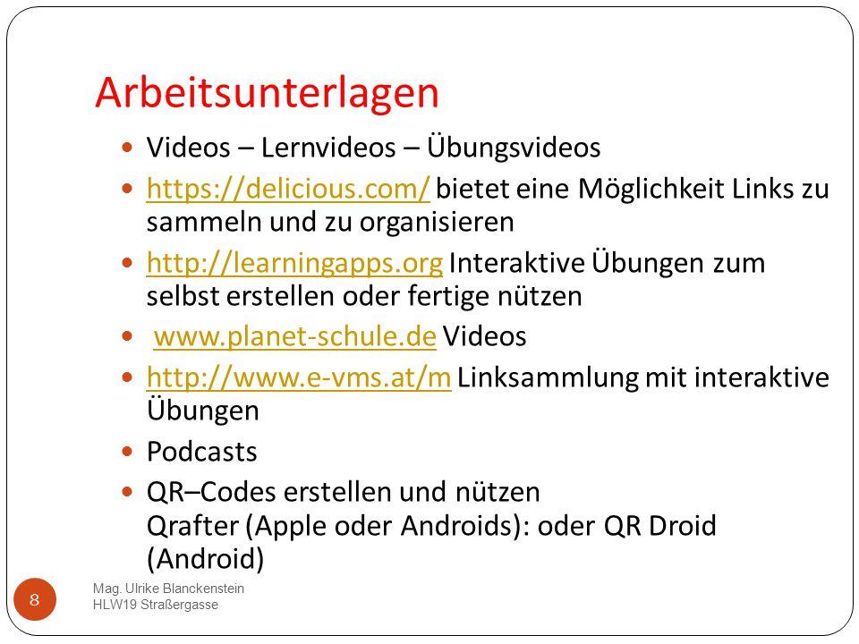 Arbeitsunterlagen Videos – Lernvideos – Übungsvideos