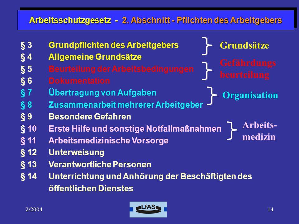 Arbeitsschutzgesetz - 2. Abschnitt - Pflichten des Arbeitgebers